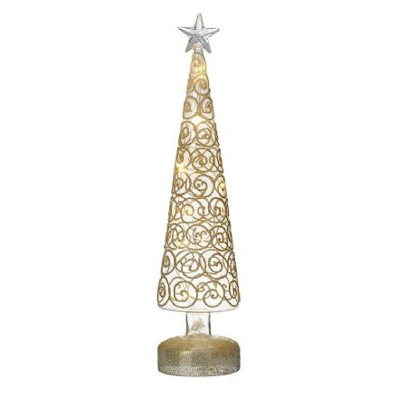 Light Up Glass Tree With Gold Swirls Large